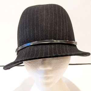 100% wool black cloche hat